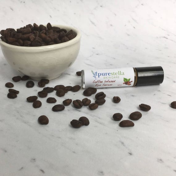 Coffee Infused Eye Serum in an easy to apply roller ball bottle