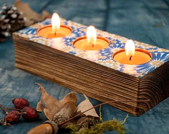Beautiful Blue Candle Holder Tealight Candle Centerpieces Wooden Candle Holder Home  Interior Candle Country Living Decor Rustic