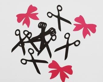 Scissors Die Cuts, Ribbon Die Cuts, Scissors Confetti, Ribbon Confetti, Ribbon Cutting Ceremony Die Cuts, Hair Stylist Die Cuts