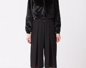 Black Velvet Bomber with Ruffled Collar Jacket