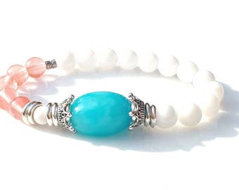 Pretty Summer Semi Precious Bracelet Featuring Aqua Blue Malaysian Jade,White Chalcedony and Cherry Quartz Gemstones
