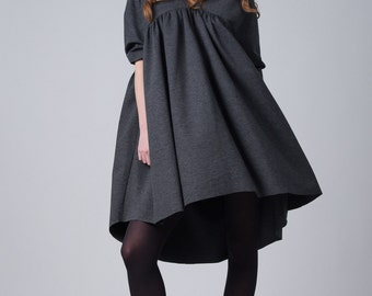 Fasada 16148 gray baby doll dress / Woman's tent dress / oversized short grey dress / Loose short sleeve fashion dress / A-line dress