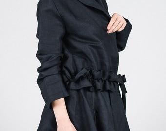Black linen cardigan / Woman's long sleeves black jacket / Summer linen jacket / Unusual woman's black cardigan / Fasada 1746