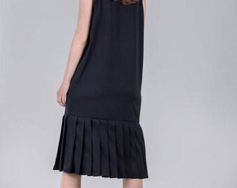 Black knee dress / Woman's black elegant dress / Pleated black woman's dress / Special occasion woman's dress / Fasada 1769