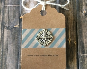 Compass Lapel Pin / Tie Tack - Silver Tone - Tack Backing with Clutch Clasp