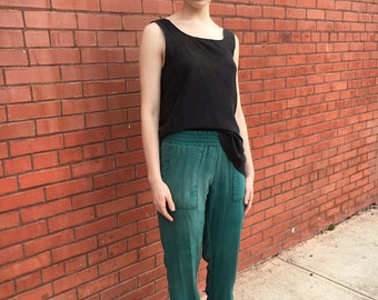 Forest Green Silk Pull On Joggers