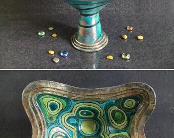raku pottery malachite bowl, ceramic geode bowl, ceramic fruit stand, ceramic crystal bowl, ceramic cup, centerpiece bowl, coastal decor