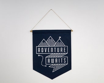 Screen Print Camping Quote, Motivational Wall Hanging, Adventure Awaits, Silk Screen Canvas Banner, Camping Artwork, Ready-to-Hang