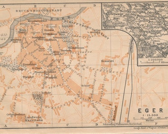 1905 Eger Hungary Antique Map