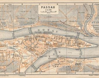 1929 Passau Germany Antique Map
