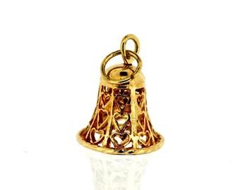 Vintage Gold Charm - 9ct Gold Bell Charm - Vintge 9ct Gold Charm