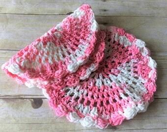 Round Dishcloth Set, Pink Crochet Dishcloth, Crochet Dishcloth, Dishcloth Set, Cotton Washcloth, Crochet Dishcloths, Gift, Mothers Day Gift