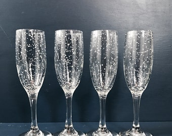 Starry Champagne Flutes - Set of 4 Handpainted Star Constellation Champagne Glasses - Custom Order Your Own Set