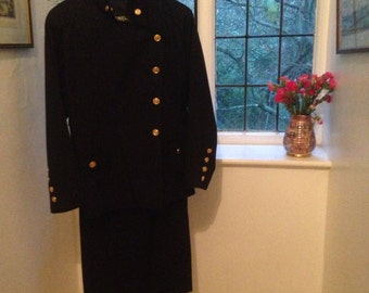 Chanel Boutique Vintage Navy Blue Skirt Suit