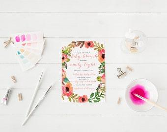 Baby Brunch Invitation Baby Shower Invitation Floral Wreath Baby Shower Invitation Printable Baby Shower Invitation Brunch For baby