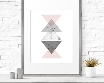 Printable abstract art, Graphic print, Boho art, Scandinavian print, Pink, Nordic art, Instant download, Geometric print, Graphic prints