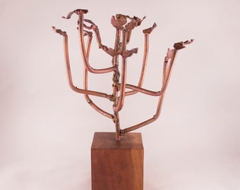 Mid Century Brutalist Metal Tree Sculpture on Walnut Base by T. Gilliam