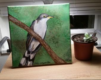Yellow-billed Cuckoo Acrylic Painting, 8x8 canvas