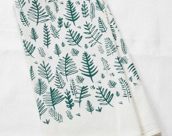 Fern Tea Towel - Tea Towel - Flour Sack Towel - Screen Printed - Fern Dish Towel - Cotton Kitchen Towel - Eco Friendly - Tea Towels - Ferns