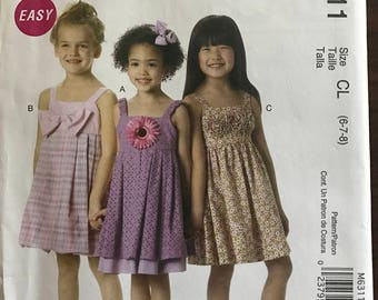 McCalls M6311 - Girls Easy Sundress with Contrast Layer or Bubble Skirt Options - Size 6 7 8