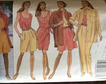 Butterick 5994 - Linda Allard for Ellen Tracy Shirt, Tank Top, Double Wrap Sarong Skirt, Shorts, and Pants - Size 12 14 16
