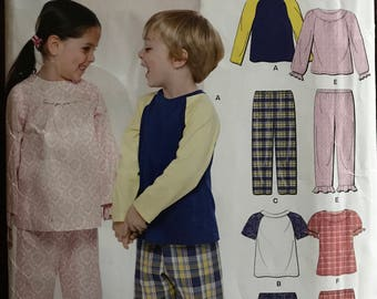 New Look A6932 - Easy to Sew Toddlers and Kids Pajama Top and Bottoms Set - Size .5 1 2 3 4 5 6 7 8