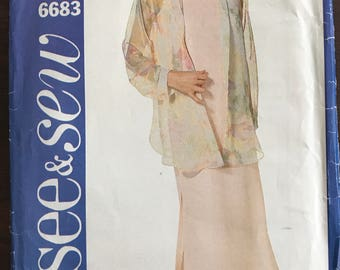 See & Sew 6683 - Very Easy to Sew Loose Fitting Shirt and Pullover Sleeveless Dress - Size 20 22 24
