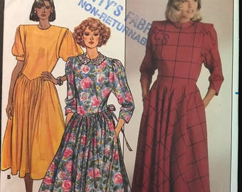 Butterick 3457 - 1980s Belle France Dress with Basque Waist in Midi Length - Size 6 8 10