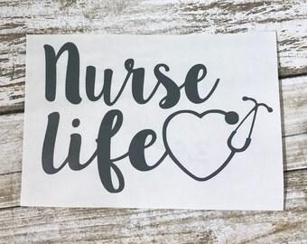 Nurse Life Decal / nurse sticker / nurse monogram / monogram decal / nurse life sticker / car sticker / car decal / nurse life