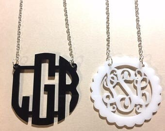 Monogram 2 Hole Acrylic Script Plaques - Chain Necklace, colorful necklace, Personalized Necklace Jewelry 3 Letter, monogram gift