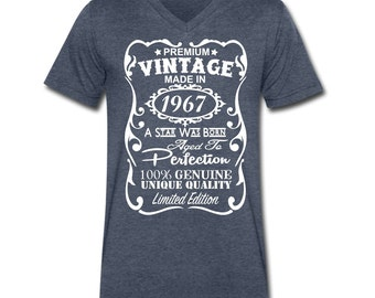 50th Birthday Gift for Men - 50th Birthday for Men - Unique V-neck T-shirt - Made in 1967 Shirt - **VELVETY PRINT** - 50th Birthday for Him
