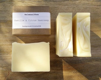 Solid Shampoo Bar, Chamomile & Citrus - for normal to oily hair / Natural handmade cold process soap/ with chamomile oil and essential oils