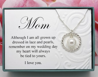 Gift for Mother of the Bride from bride necklace Sterling silver Swarovski crystal pearl necklace bridal party gift for Mom