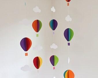 Hot air balloon garland - Balloon garland - 3D balloons - Rainbow balloons - Hot air balloon theme - Nursery decor - Baby shower - Usborne