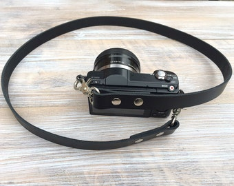 Leather Camera Strap - Genuine Leather DSLR Strap - Matt Black Camera Strap - Minimalist Design - Dark Tan Leather Sling