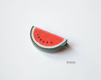 Mini Watermelon Brooch, Polymer Clay Watermelon Brooch, Watermelon Pin, Polymer Clay Fruit Brooch, Fruit Jewelry,Mini Fruit Pin, Melon Slice