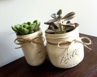 SUCCULENT PLANT | Real | One (1) Mason Jar Succulents; Indoor Garden; Succulent Plant; Live Plant; Distressed Mason Jar