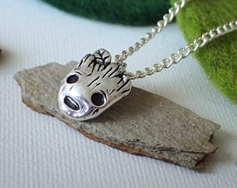 Toddler Groot Charm + Silver Chain + Necklace