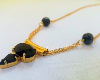 Swarovski pendant necklace, Gold necklace, pendant necklace, Mother's Day Gift, Gold and black Statement Necklace, Unique Necklace