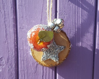 Silver Yule Decor, Yuletide Tree, Wooden Ornament, Pagan Christmas, Wreath Trinket, Wiccan Altar, Witch Home, Pentagram Decoration, Glitter