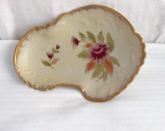 Vintage  Bavarian Candy Nut Trinket Dish Floral Gold Trim French Traditional Cottage