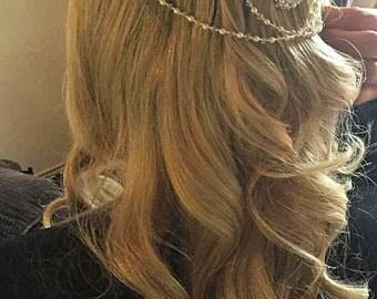 Bridal headpiece adorned with Swarovski pearls crystal rhinestones , Wedding hair jewellery, hairpiece, back drapes bride head hair piece