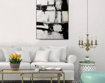 Black And White Wall Art Original Large Abstract Painting Black And White Canvas Art Abstract Artwork White Contemporary Art, Christovart