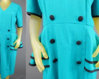Teal Green Ruffles Sheath Suit Dress Style In CinQ Size 14 Made in USA Vintage 80's