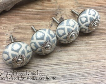 SET OF 4 - Grey Ceramic Knob with Natural Cream Etched Hearts - Blue Grey Light Grey Drawer Pull Decorative Flower Knob - Cabinet