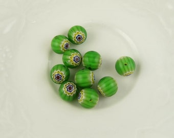 Millefiori Glass Beads, Green & Multicolored, Millefiori Glass, Green Glass Beads, 10pcs