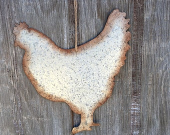 Large Galvanized Metal Hen Wall Hanging, Rustic Country Kitchen, Primitive Dining Room, Industrial Farm House Sign, Chicken Decor