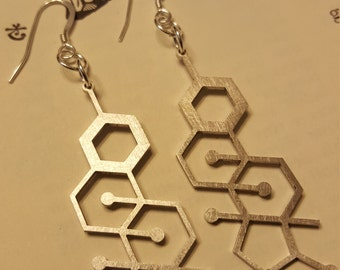 Laser Cut Estrogen Stainless Steel Molecule Earrings - Chemistry Earrings - Nerdy Gift for Her