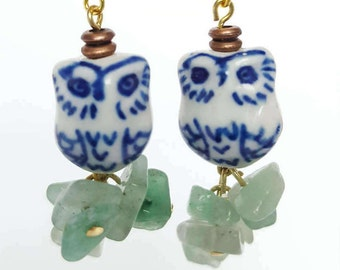 Owls Perched on Tourmaline (Handmade)
