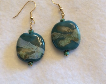 Kazuri Sea Green Bead Earrings, Ceramic Earrings, Teal Earrings, Kazuri Earrings